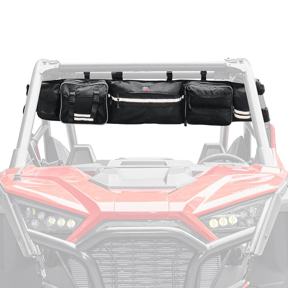Upgraded UTV Roll Cage Overhead Organizer Roll Cage Cargo Rear Storage Bag - Kemimoto