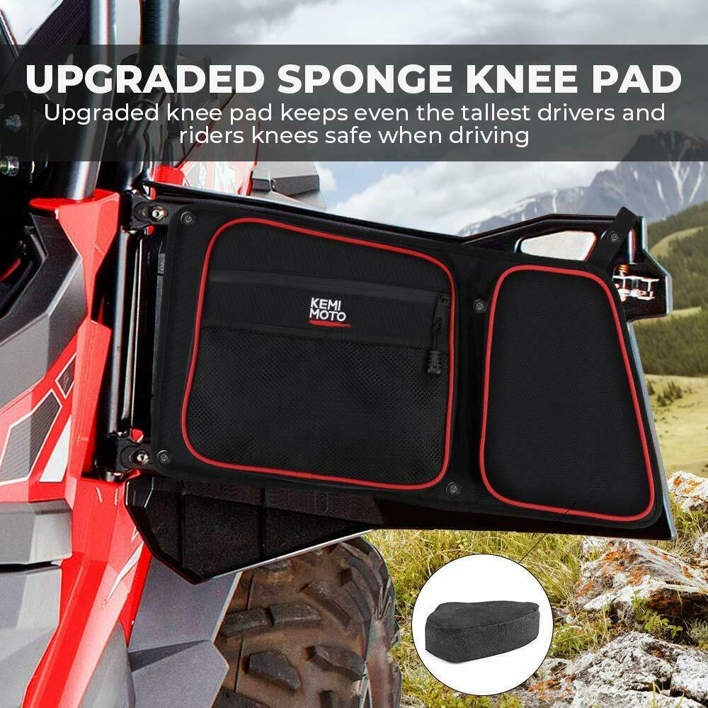 UTV Rear Side Door Bag w/ Knee Pad for Polaris RZR 4 900 XP 4 1000 2014-19 - Kemimoto