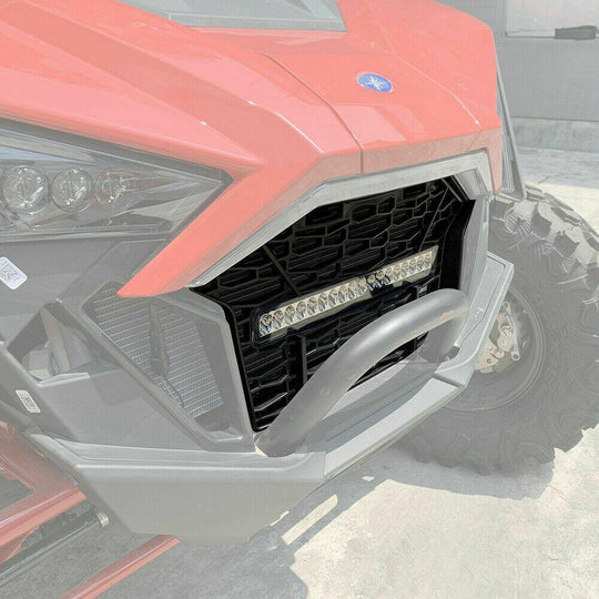 2020 Polaris RZR PRO XP Premium Front Bumper Mesh Grill Grille LED Light Bar - Kemimoto