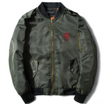 Embroidered Snake Bomber - Olive - ELEVATED NEW YORK NY ELEVATEDNY