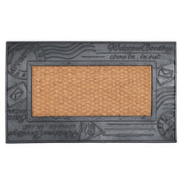 Plain Natural Coir Door Mat with Rubber Post Card Design - OnlyMat