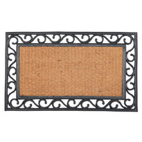 Plain Rectangle Natural Coir Doormat with Black Rubber Border - OnlyMat