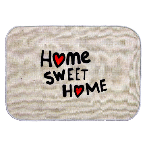 Onlymat 'Home Sweet Home' Printed Micro Boucle Jute Mat