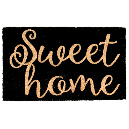 "Stylish Black ""Sweet Home"" Printed Natural Coir Entrance Mat - OnlyMat"