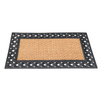Plain Natural Coir Doormat with Black Rubber Border - OnlyMat