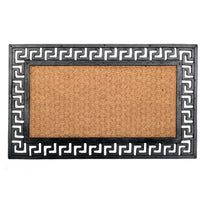 Rubber Coir Doormat Greek Key