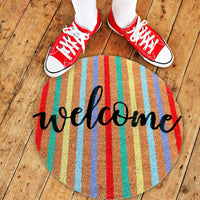 Colourful printed  'Welcome' Round Shaped Natural Coir Door Mat - OnlyMat