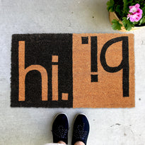 "Elegant Black & Brown ""Hi Bi"" Printed Natural Coir Door Mat"