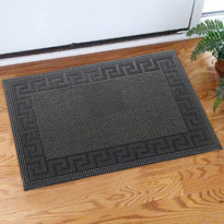 Lightweight Black Rubber Pin Mat with Designer Pattern Border - OnlyMat