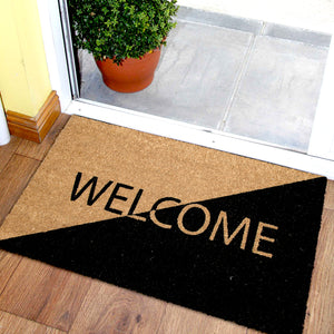 "Black and Brown ""Welcome"" Printed Anti-Slip Natural Coir Door mat - OnlyMat"