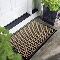 Beige Colour Rubber and Coir Polka Dot Design Floor Mat - OnlyMat