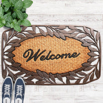 Leaf Design Border Rubber Coir Doormat - OnlyMat