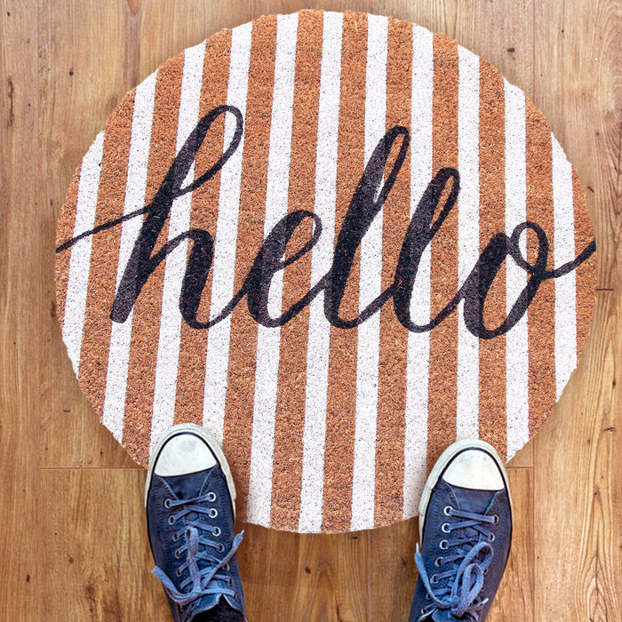 """Hello"" printed Round Shaped Natural Anti-slip Coir Floor Mat"