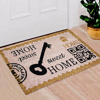 "Stylish ""Sweet Home"" and Key rinted Natural Coir Floor Mat - OnlyMat"