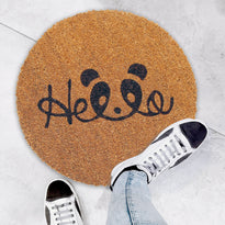 "Cute ""Hello"" printed Natural Coir Round Shape Floor Mat"