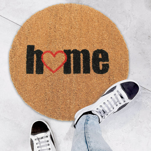 "Onlymat Round Shape ""Home"" Printed Natural Coir Anti Slip Doormat"