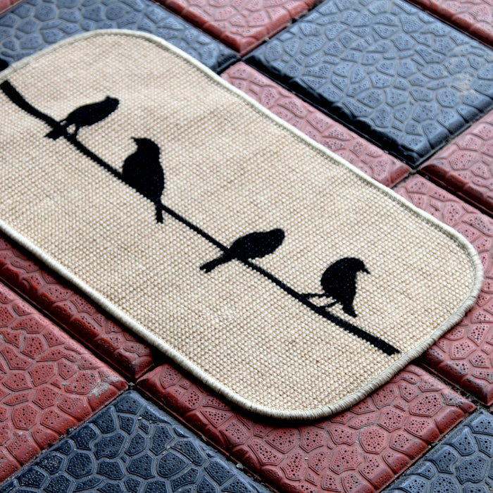 Onlymat Micro Boucle Bird Design Printed Anti Slip Jute Mat