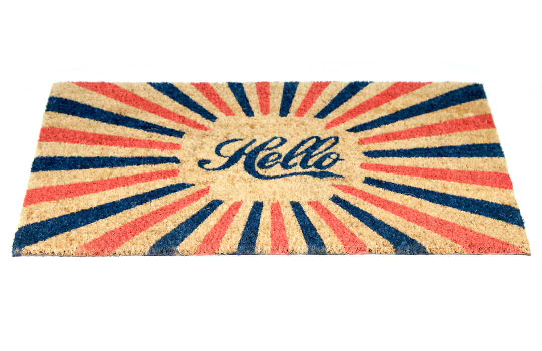 "Colourful Retro ""Hello"" Printed Natural Coir Door Mat"