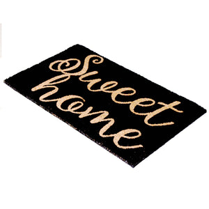 "Elegant Black ""Sweet Home"" Printed Natural Coir Entrance Mat - OnlyMat"