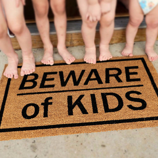 """Beware of Kids"" Printed Natural Coir Funny Door Mat - OnlyMat"