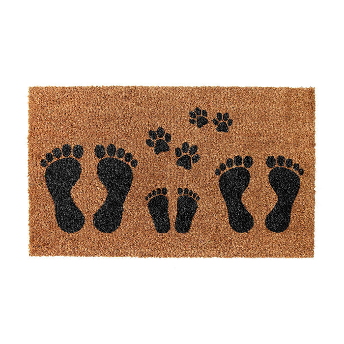 Foot Mark & Dog Claws printed Natural Coir Floor Mats