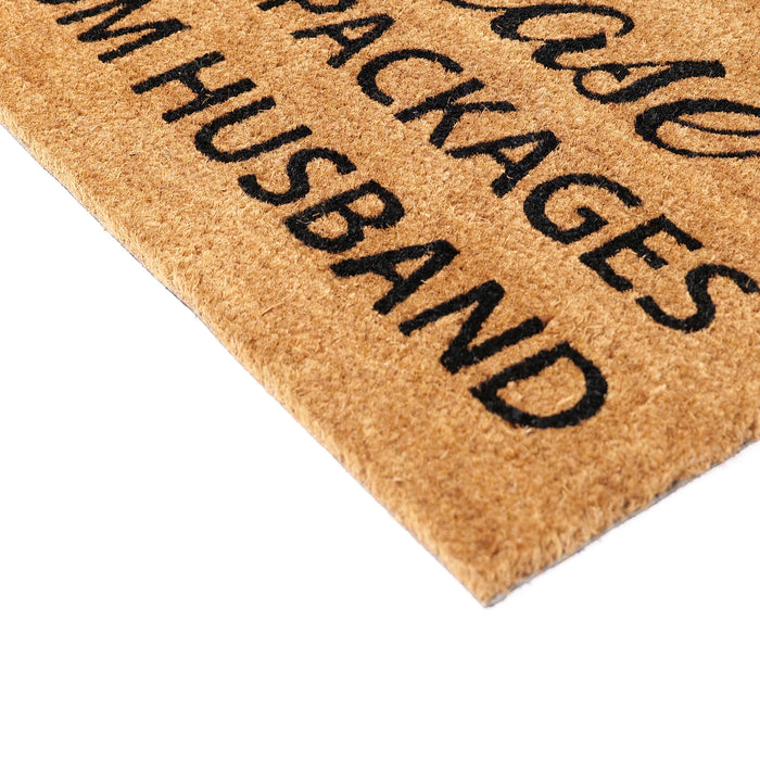 "Funny ""Please Hide Packages from Husband""  Natural Coir Floor Mat"