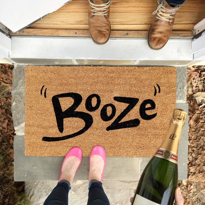 """Booze"" Printed Elegant Natural Coir Door Mat"