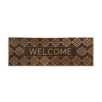 Long Designer Pattern Brown Rubber Pin Welcome Washable Door Mat - OnlyMat