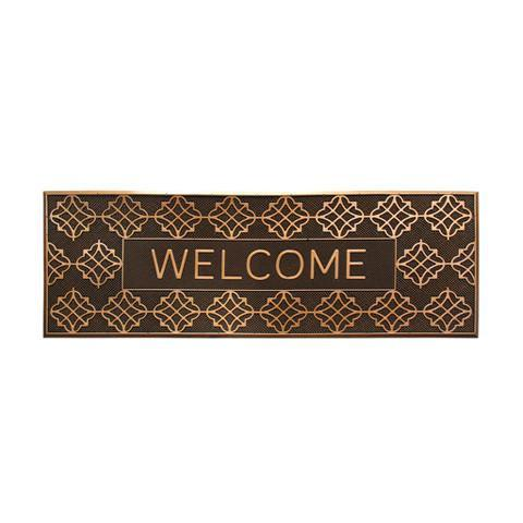 Long Designer Pattern Brown Rubber Pin Welcome Washable Door Mat