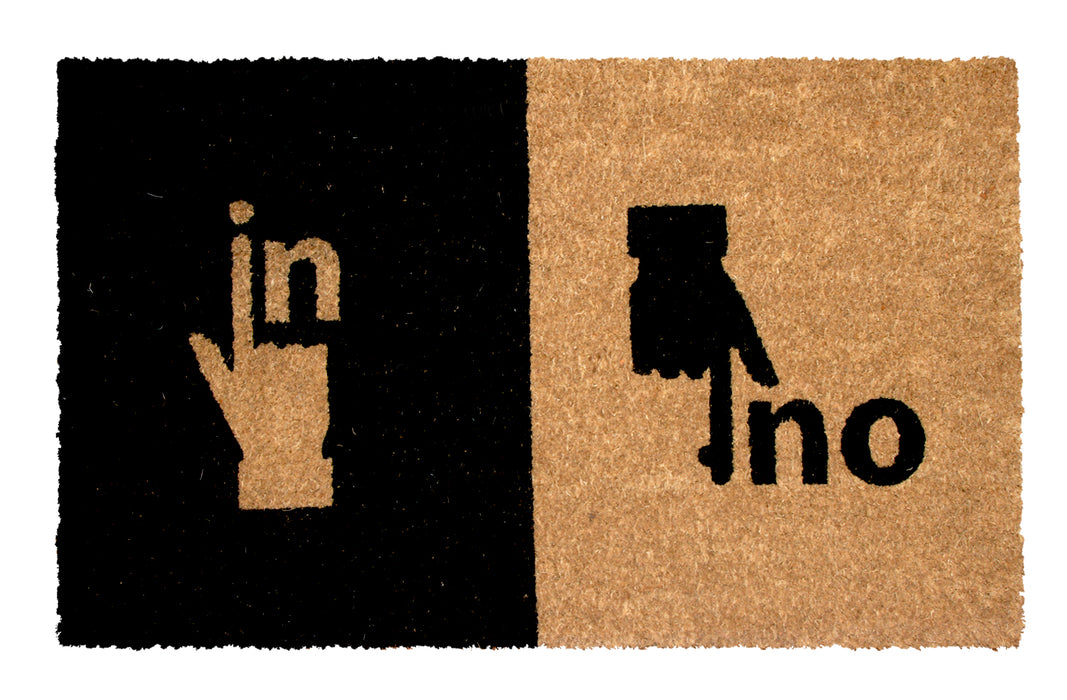 "Stylish Black & Brown ""IN OUT"" printed Natural Coir Entrance Mat - OnlyMat"