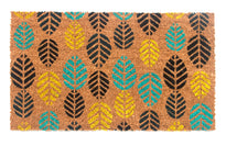 Colorful Leaf Design Printed Natural Coir Floor Mat - OnlyMat