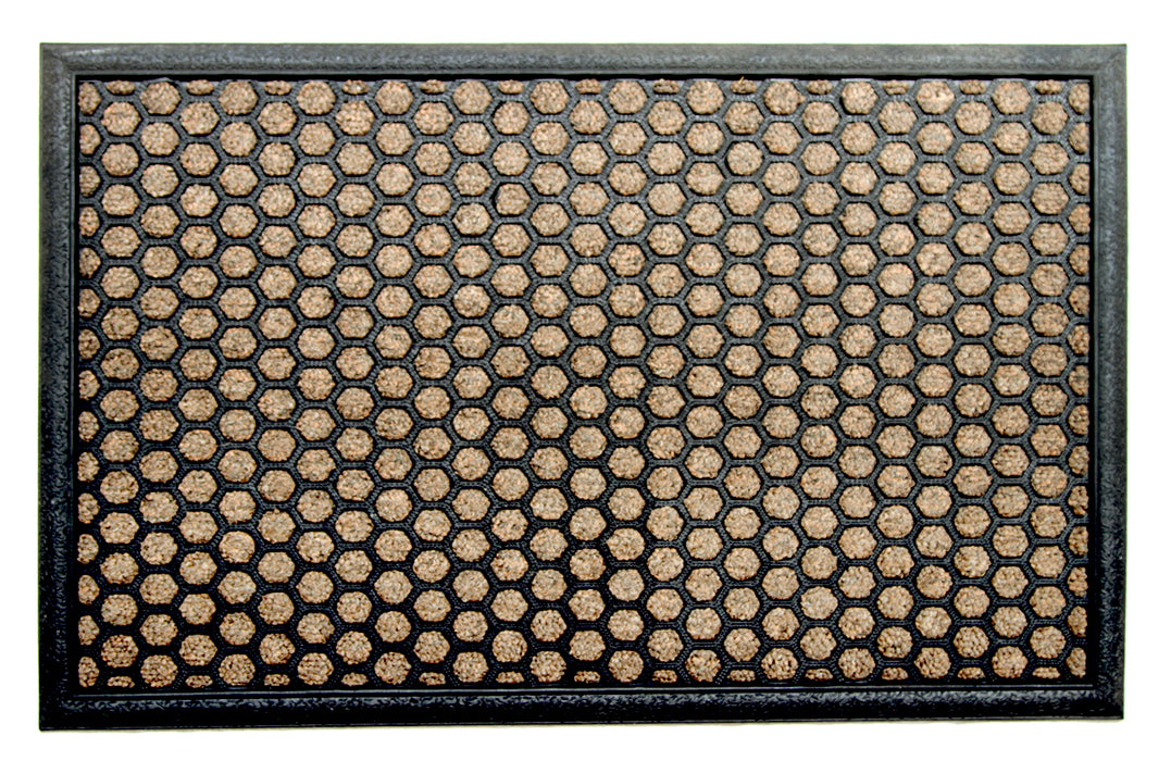 Rubber Beige Pin Polka Doormat