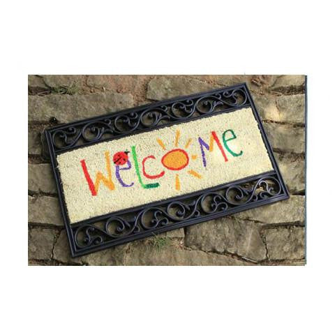 Stylish Coco Rubber Tray Welcome Mat - OnlyMat