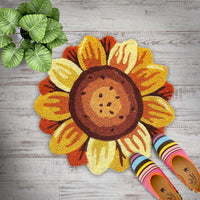 Stylish Natural Coir Sunflower Shaped Mat with PVC backing - OnlyMat