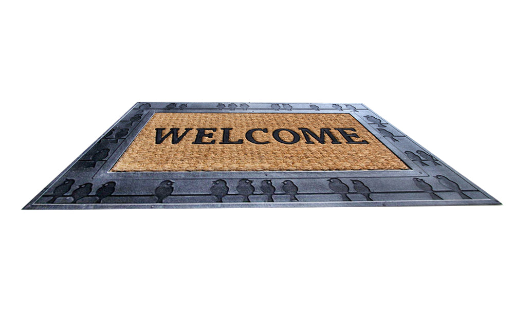 Bird Design on Rubber Border Natural Coir Doormat - OnlyMat