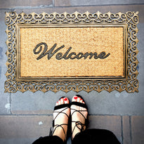 Elegant Golden Colour Moulded Rubber and Coir Welcome Designer Door Mat - OnlyMat