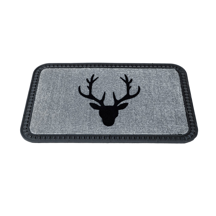Onlymat Reindeer Design Soft All-Purpose Mat Home Kitchen Bathroom Door Entrance 40x60x8mm (Grey) - OnlyMat