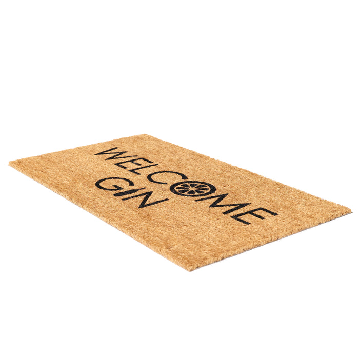 "Funny ""Welcome Gin"" Printed Natural Coir Floor Mat - OnlyMat"