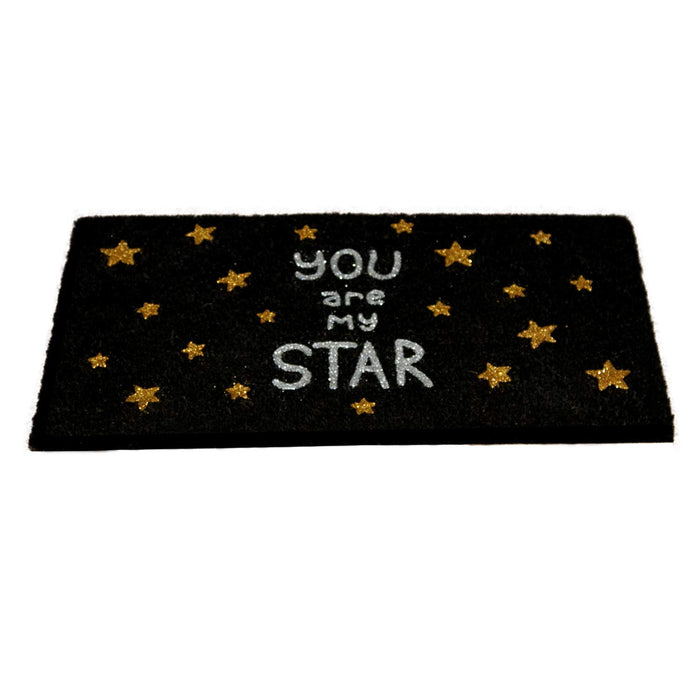 Stylish Black Glitter Printed 'You are My Star' Natural Coir Floor Mat