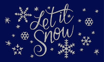 Blue Colour Natural Coir printed  'Let it Snow' Floor Mat