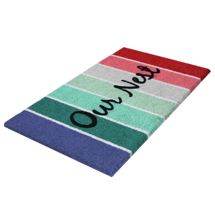 "Onlymat Natural Printed Coir Mat with Quote ""Our Nest"""