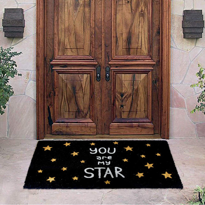 Stylish Black Glitter Printed 'You are My Star' Natural Coir Floor Mat - OnlyMat
