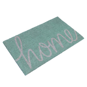"Light Green and Gray Colour ""Home"" Printed Natural Coir Entrance Mat - OnlyMat"