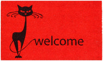 Cat printed Stylish Red Coir Doormat