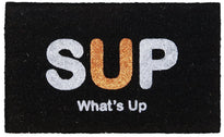 "Black ""SUP What's Up"" Printed Natural Coir Door mat"