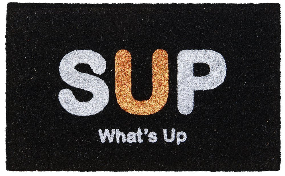 "Black ""SUP What's Up"" Printed Natural Coir Door mat - OnlyMat"
