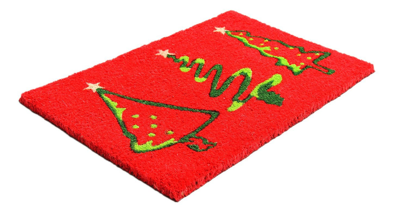 Stylish Christmas Tree Printed Red Color Natural Coir Floor Mat
