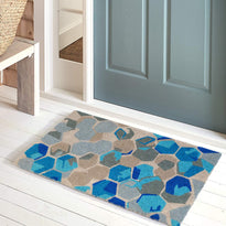 Colourful Blue Design printed Natural Coir Door mat - OnlyMat