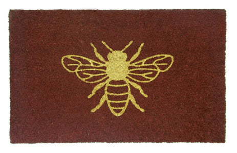 Stylish Golden Glittering Bee Printed Natural Coir Floor Mat - OnlyMat