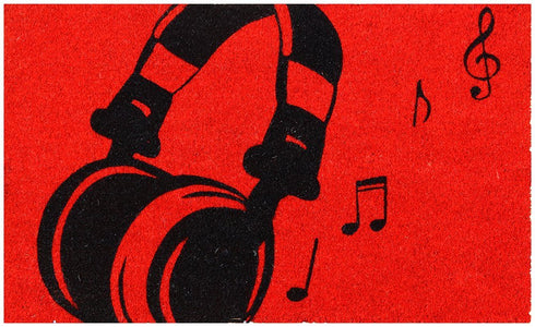 Stylish Headphone printed Red Colour Natural Coir Floor Mat for Music Lovers - OnlyMat